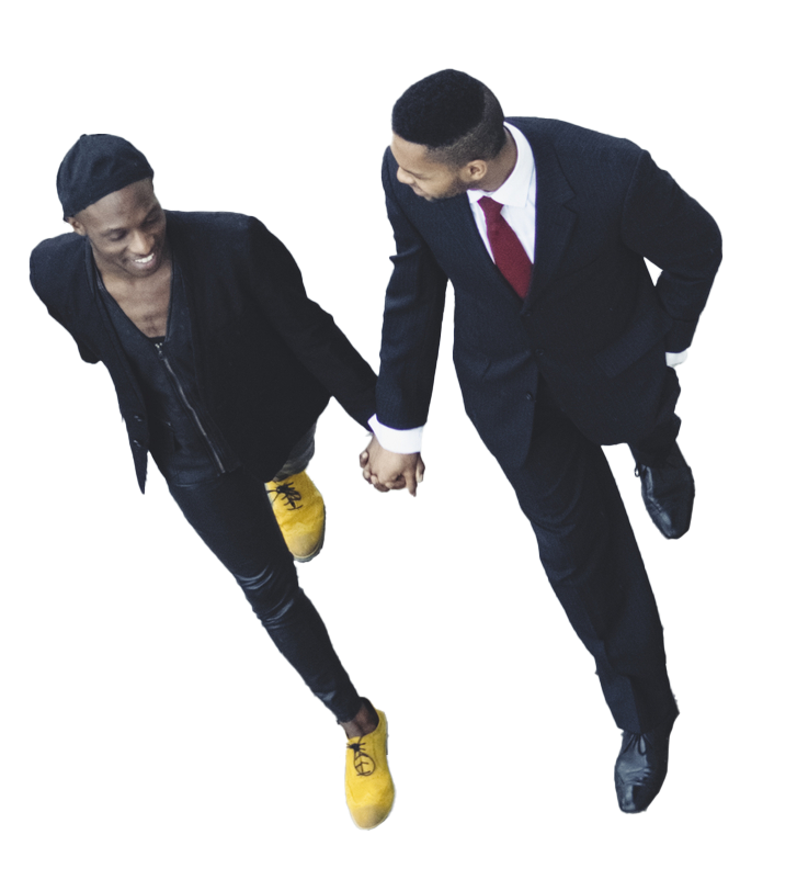 image of two men holding hands